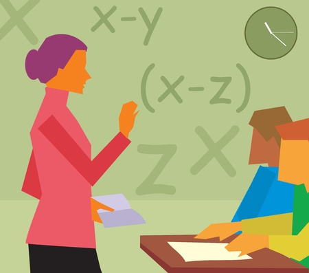 maestra ense�ando: Vista lateral de profesor de ense�anza en una clase