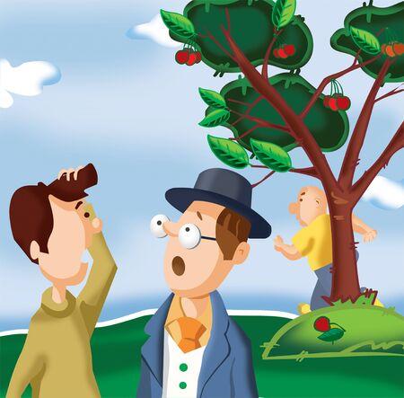 two men talking: Two men talking in park Stock Photo