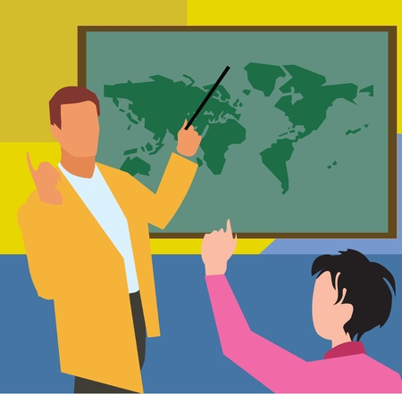 teacher student: Teacher showing world map to student in geography class   Stock Photo