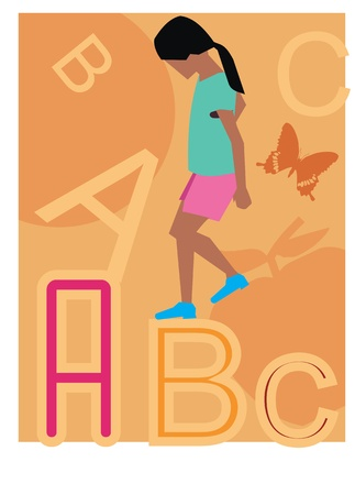 Side view of a girl walking on alphabets Stock Photo - 9688517