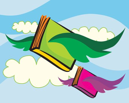 Books flying in the cloudy Sky  photo