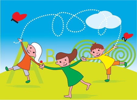 Front view of children playing in a park Stock Photo - 9688910