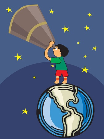 back view student: Boy looking through telescope towards sky