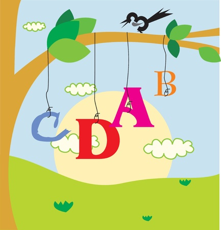 trees photography: Bird perching on branch and alphabet hanging below