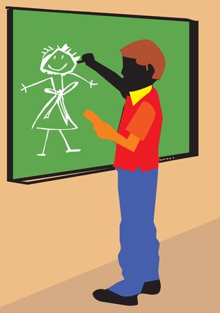 pictorial  representation: Side view of a boy making drawing on board