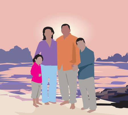 Family standing on beach photo