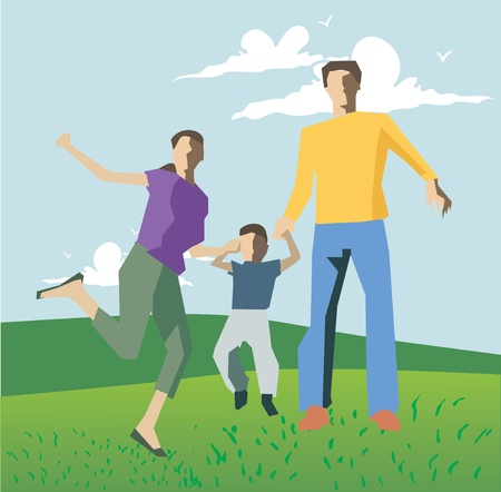 Family playing on hills Stock Photo - 9688615
