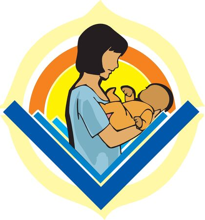 Side view of mother holding baby Stock Photo - 9688786