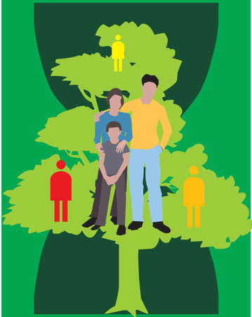 Family Standing on a tree with human figures photo