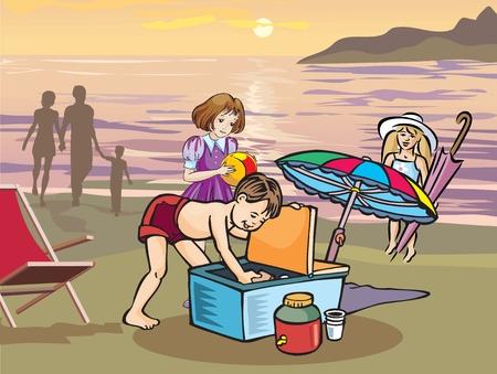 Children having picnic on beach Stock Photo - 9688953