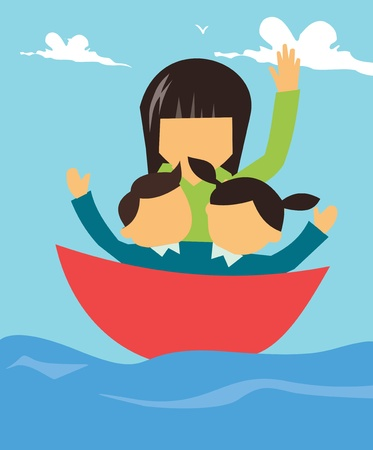 female likeness: Family boating together  Stock Photo