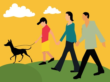 Side view of family walking with their pet photo