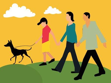 Vista lateral de la familia caminar con su mascota