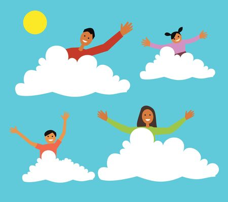 female likeness: Family sitting on clouds  Stock Photo