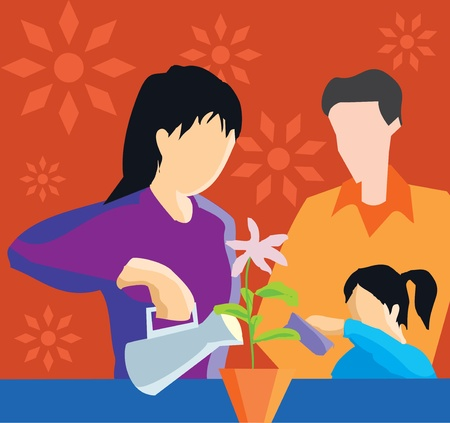 female likeness: Front view of family watering plant  Stock Photo