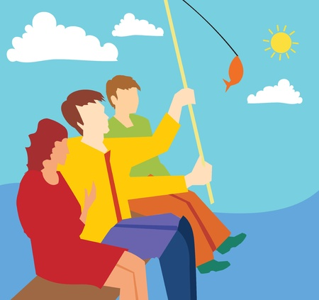 Side view of family fishing together photo
