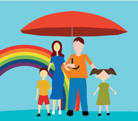 female likeness: Front view of family standing with umbrella  Stock Photo