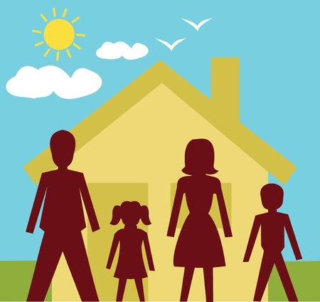 female likeness: Front view of family standing in front of a house  Stock Photo