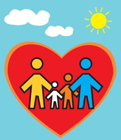 Family Standing in heart shape  photo
