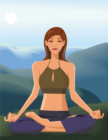 Front view of a woman doing yoga Stock Photo - 9688729