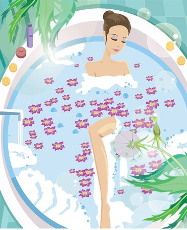 Young woman having aromatherapy bath photo