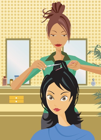 Front view of hairstylist cutting hair photo