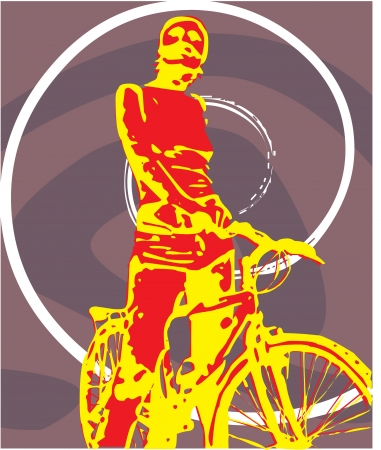 bicycler: Front view of a person standing with bicycle