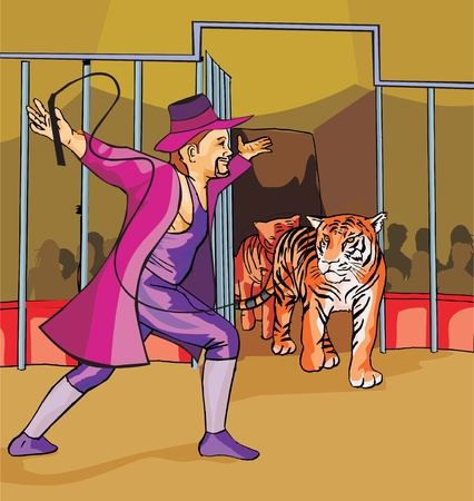 ringmaster: Side view of ringmaster with tigers in circus Stock Photo