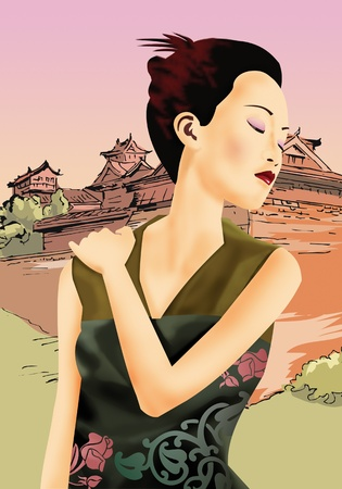 Front view of a chinese woman stretching her neck Stock Photo - 9689025