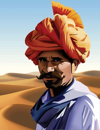Portrait of a rajasthani man Stock Photo - 9689010