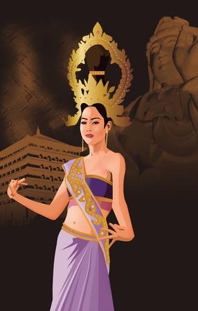 south east asian: Vista frontal de una mujer al sur asi�tica bailando Foto de archivo