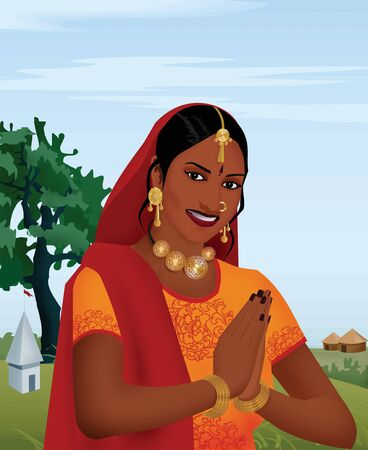 welcoming: Smiling indian girl joining hands; as a  welcoming gesture Stock Photo