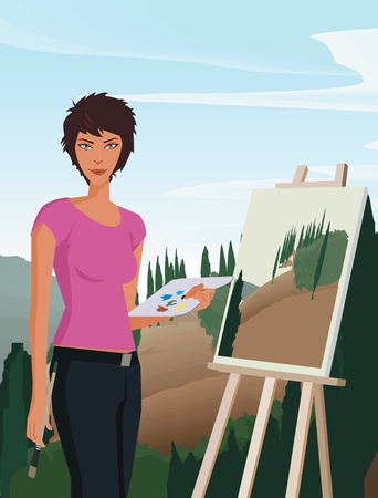 Woman holding paintbrush and palette Stock Photo - 9688767