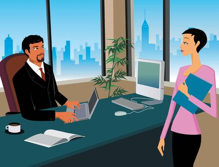 front office: Business people working in office