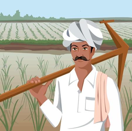 agricultor: Vista frontal de un agricultor con arado