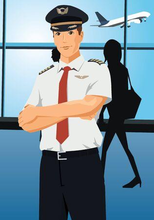 piloto: Vista frontal de un piloto en c�mara   Foto de archivo