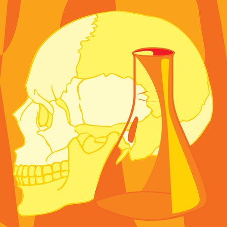pictorial  representation: Close-up view of human skull and beaker