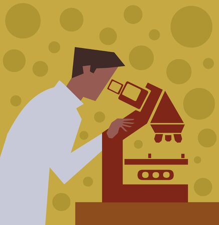 looking: Side view of a scientist looking through a microscope  Stock Photo