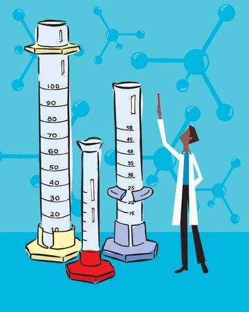 Front view of a scientist standing with test tubes Stock Photo - 9688867