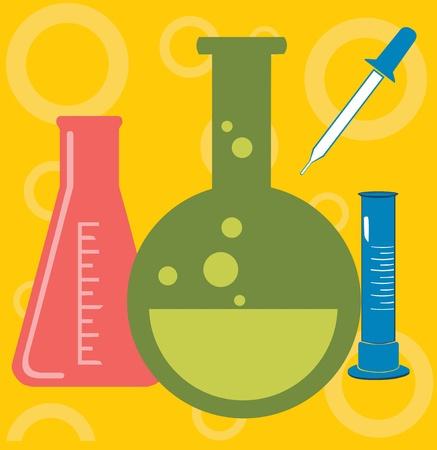 beaker: Closeup of beaker; jar and test tube