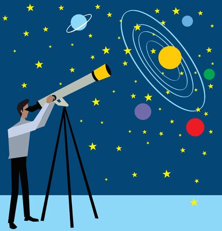 looking: Side view of a man standing and looking stars through telescope