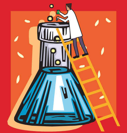 Rear view of a scientist standing on ladder with beaker Stock Photo - 9688895