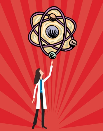Female doctor holding atoms Stock Photo - 9688869
