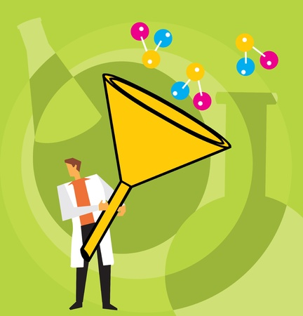 Front view of a scientist holding cone Stock Photo - 9688547