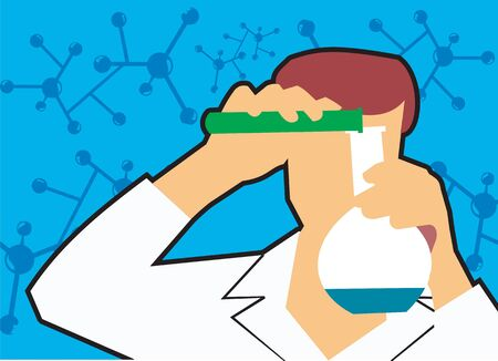 chromosomal: Front view of a scientist pouring liquid into flask