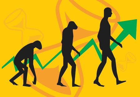 Life cycle of human with arrow Stock Photo - 9688643