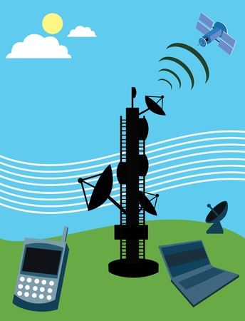 Telecom tower with satellite; laptop and mobile phone Stock Photo