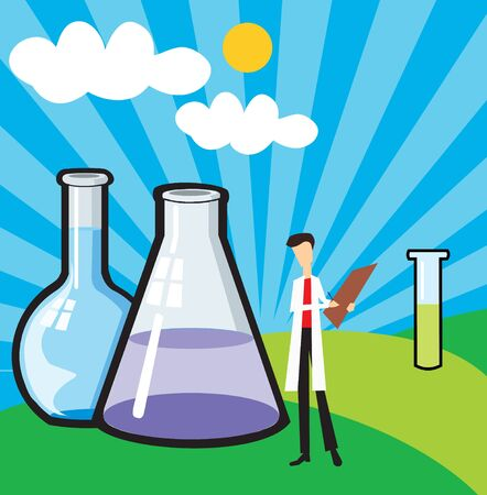 Front view of a scientist standing with beaker and test tube Stock Photo - 9688760