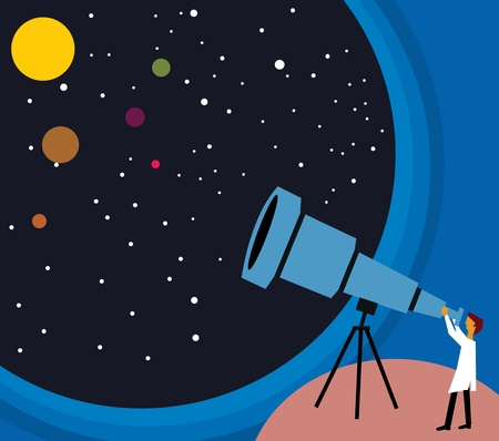 unknown gender: Side view of a person looking stars through telescope Stock Photo