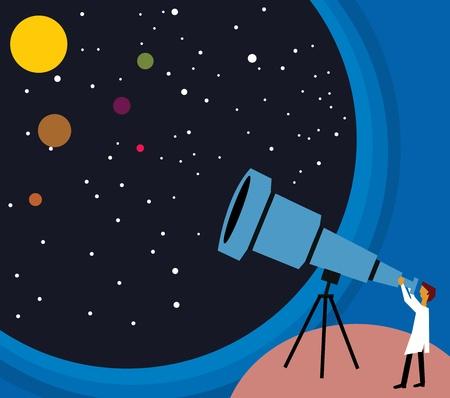 Vista lateral de una persona mirando estrellas a trav�s de telescopio Foto de archivo - 9688502